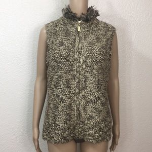 Charter Club Faux Fur Collar Sweater Vest Sz PM